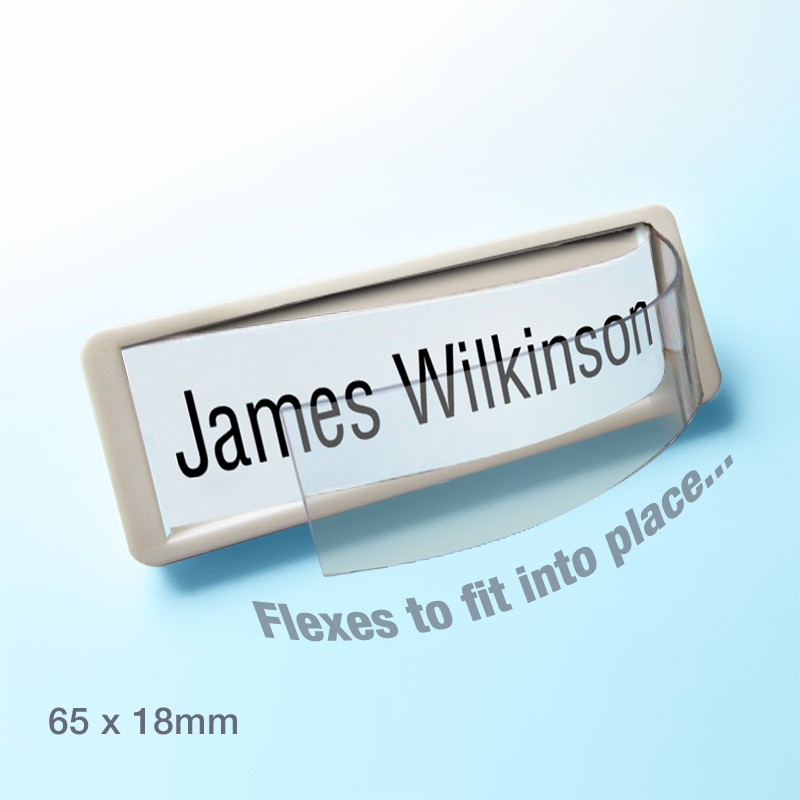 Self naming window badge 65x18mm