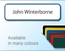 Personalised name badge 72x22mm in a variety of colours
