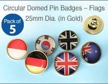 Domed Circular Flag Lapel Pin Badges