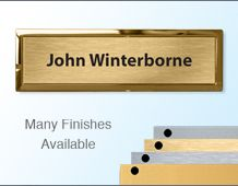 Rectangular Badge 70x21mm (B2) Gold or Chrome frame - 1 lines of personalisation
