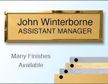 Rectangular Badge 75x25mm (B3) Gold or Chrome frame - 2 Lines of personalisation