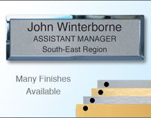 Rectangular Badge 75x25mm (B3) Gold or Chrome frame - 3 Lines of personalisation