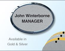 Oval Namebadge 55x39mm (B5) - Gold or Chrome frame - 2 lines of personalisation