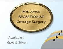 Oval Namebadge 55x39mm (B5) - Gold or Chrome frame - 3 lines of personalisation