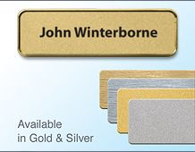 72x22mm Gold/Chrome badge with 1line of personalisation