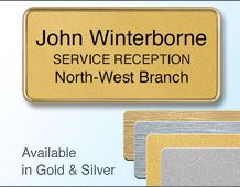 Rectangular Badge 75x35mm (H4) Gold or Chrome frame - 3 Lines of personalisation