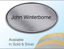 67x40mm gilt/chrome oval name badge with 1 line of text