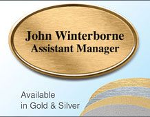 67x40mm oval name badge  gilt/chrome 2 lines of text