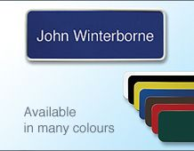 58x22mm Coloured name badge in frame with text