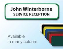 Coloured name badge/frame 72x22mm 2 lines of personalisation