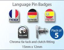 Language pin badge 15mm x 12mm (pack of 5)