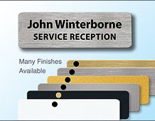 Metal panel badge 73x23mm executive style personalised over 2 lines
