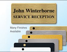 72x33mm executive metal panel badge personalised with 2 lines