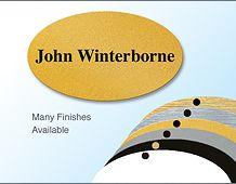 Elegant oval panel name badge 67x40mm personalised