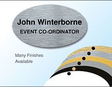 Lightweight executive oval panel badge 67x40mm 2 lines of text