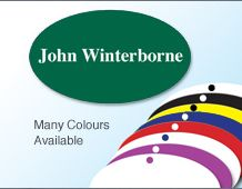 Lightweight colour oval metal panel name badge 63x36mm personalised on 1 line
