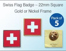 Swiss Flag Pin badge 22mm Square (pack of 5)
