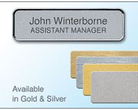 72x22mm Gold/Chrome badge with 2lines of personalisation