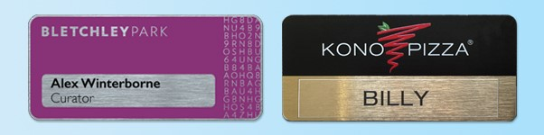 Contact us about special shaped metal namebadges